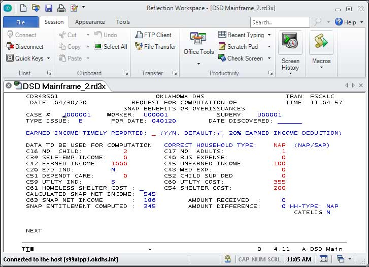 """IMS Reflection Workspace window, the open tab is titled, """"DSD Mainframe_2."""""""