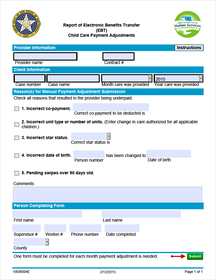 EBT-4 form with the Submit button highlighted
