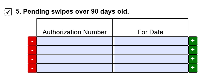 EBT-4 form, Pending swipes over 90 days old is checked.