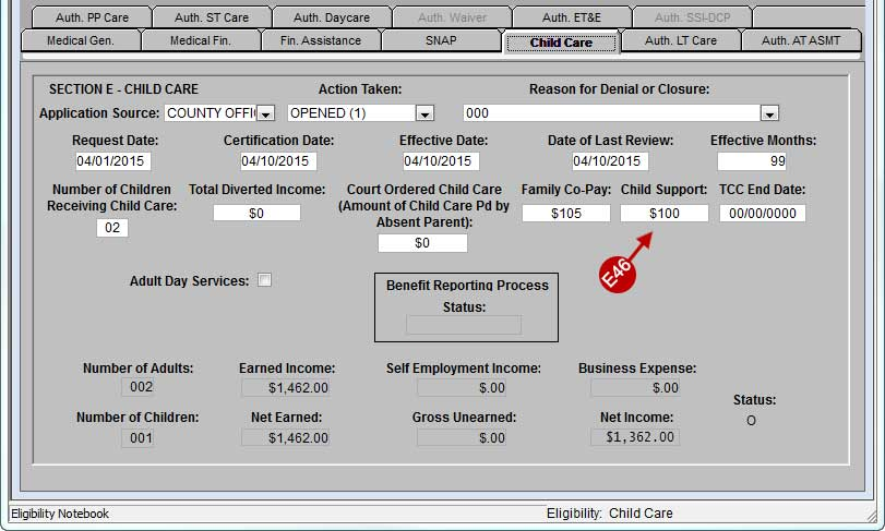 Child Care tab in the FACS Eligibility Notebook, Child Support Deduction is highlighted