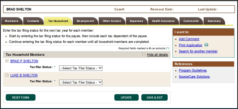 Tax household screen