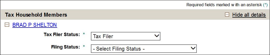 filing status drop-down