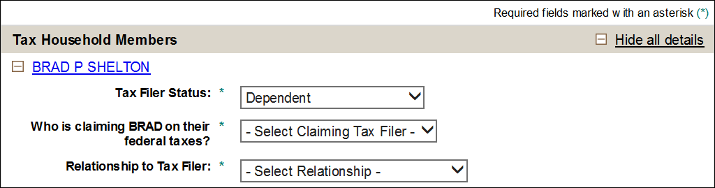 relationship to tax filer drop-down